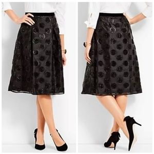 TALBOTS RSVP LUREX CLIP DOT FULL BLACK SKIRT SZ 2
